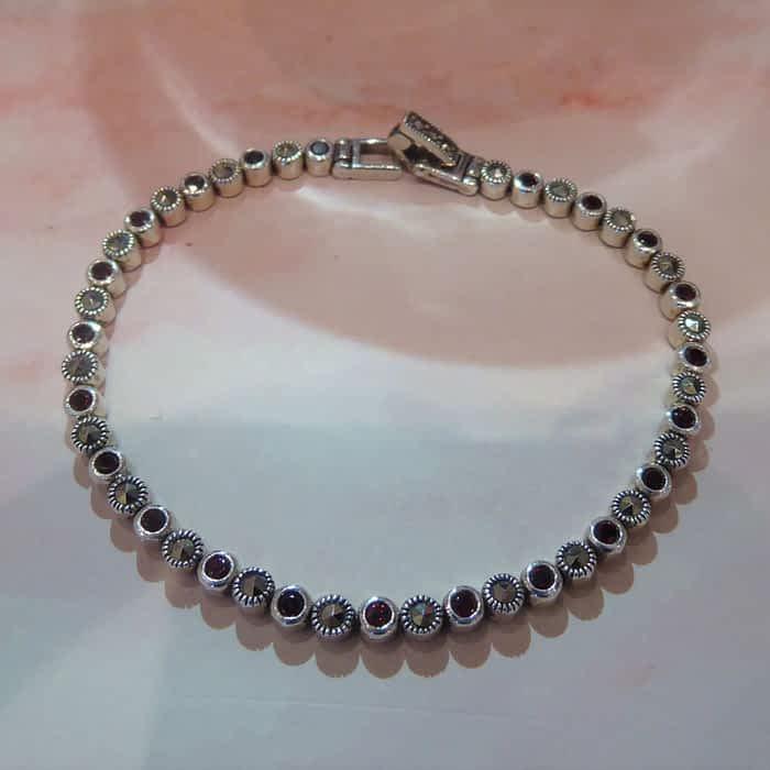 silver, garnet and marcasite bracelet