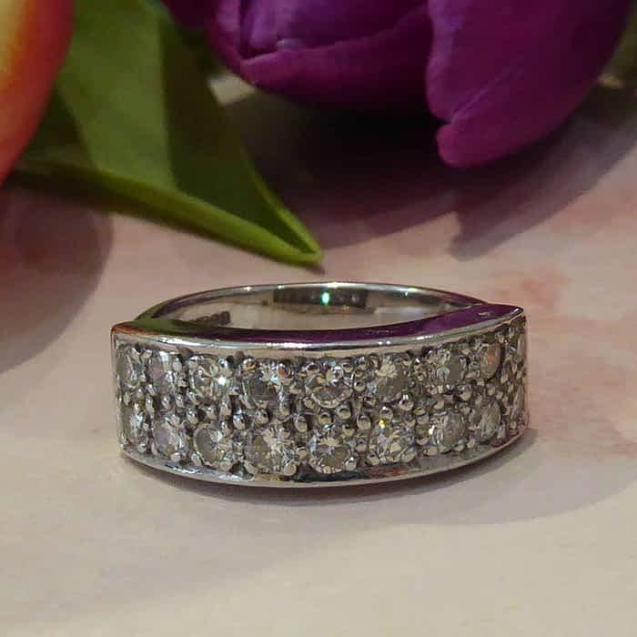 Vintage Diamond Ring, 18ct White Gold Half Eternity Ring