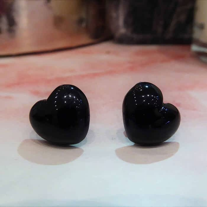 Jet heart studs with silver stems