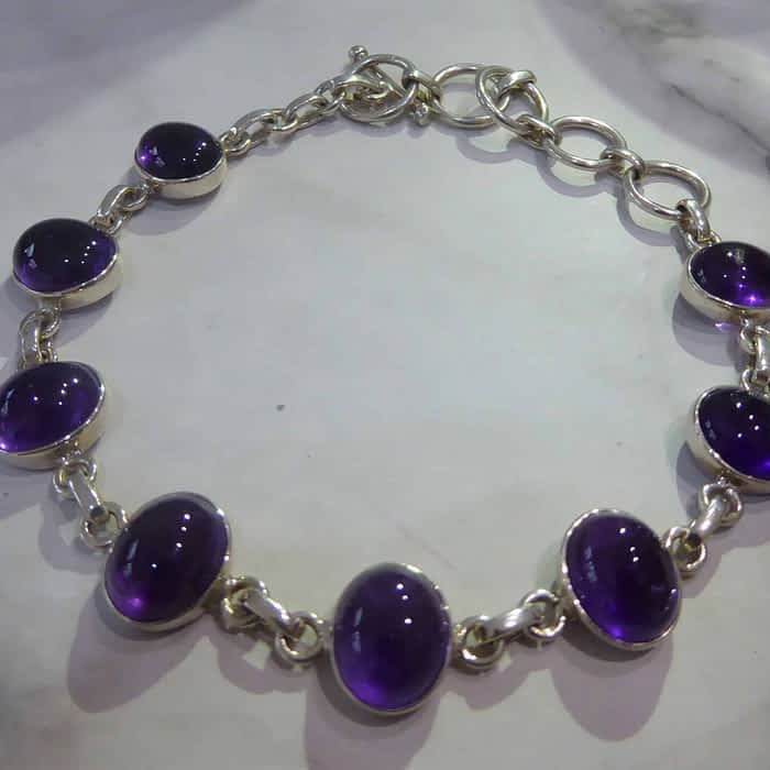 silver and amethyst stone bracelet