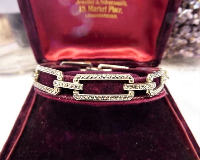 Antique Silver & Marcasite Bracelet, 1930s