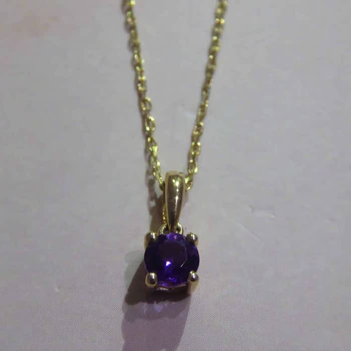 9ct gold and amethyst pendant and chain