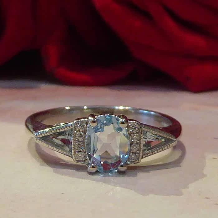 Art Deco Style, White Gold, Aquamarine and Diamond Ring