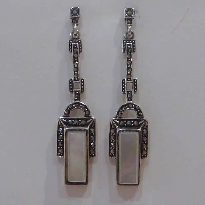 silver, marcasite and mother of pearl art deco style earrings