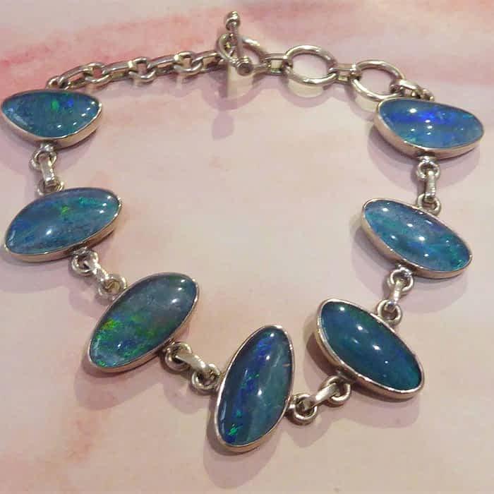 silver and opal link bracelet