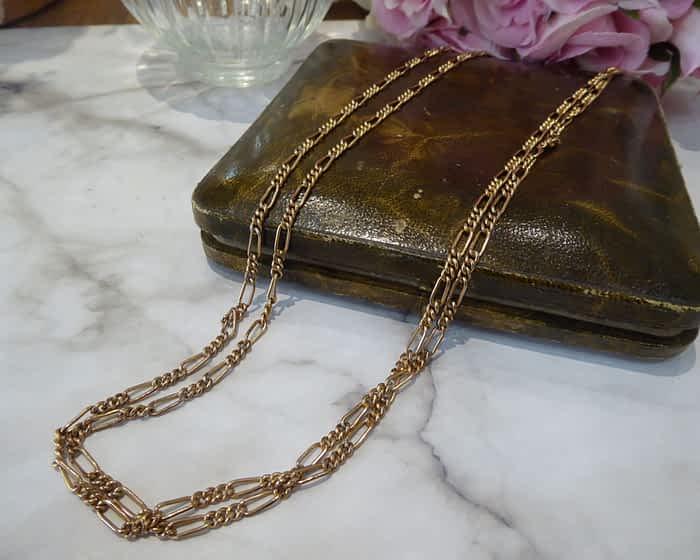 Antique Muff Chain, Gold Tone Metal Long Chain