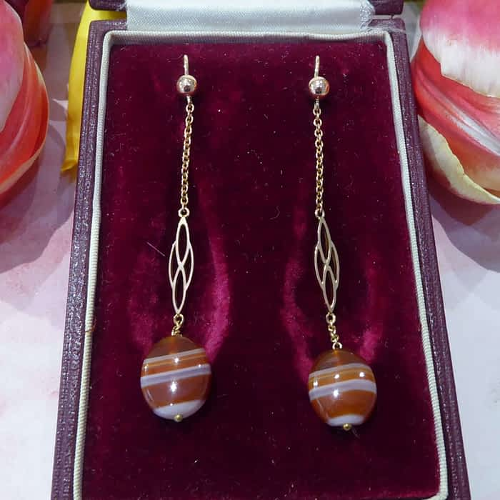 Antique Gold Earrings, Banded Agate, Edwardian