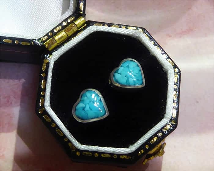 silver and turquoise heart stud earrings