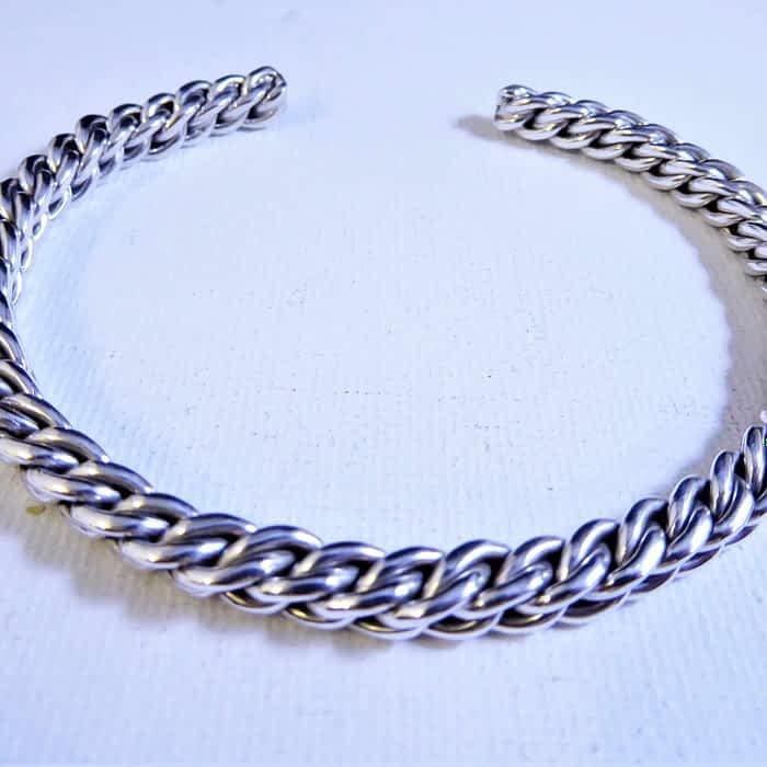 unusual design silver torque bangle