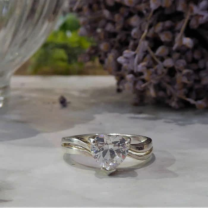 Vintage Silver Ring, Cubic Zirconia Heart Shaped Ring