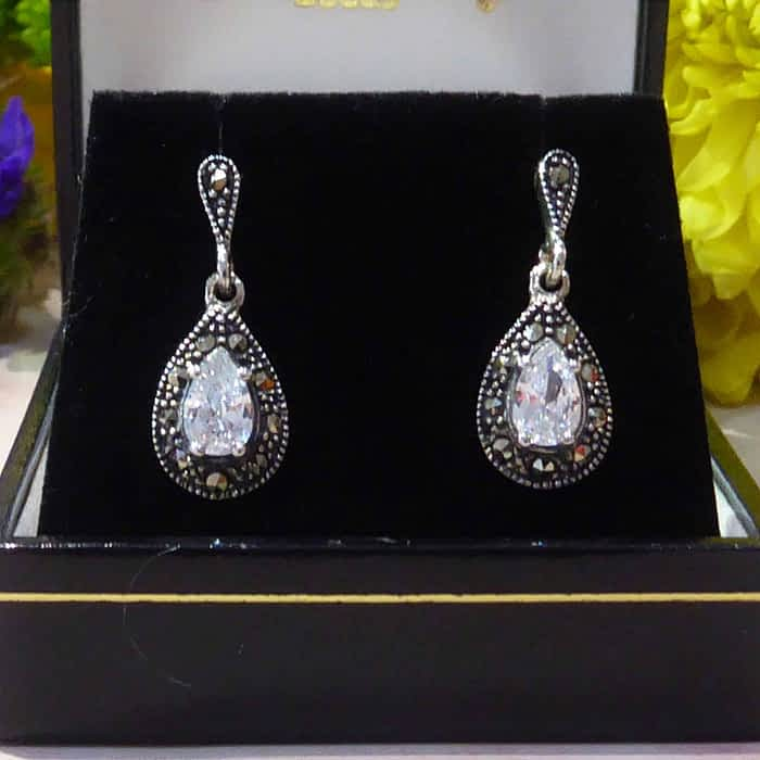 Vintage Style Silver, Marcasite and Cubic Zirconia Earrings
