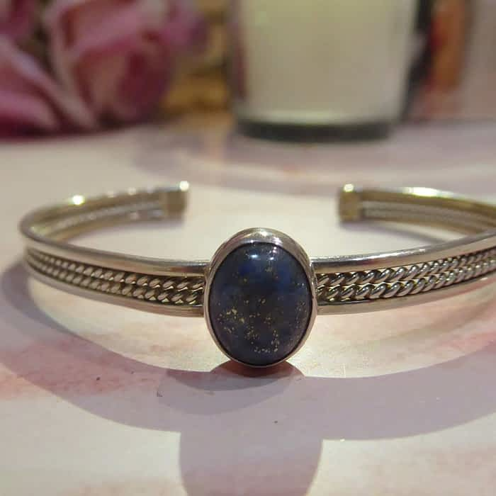 silver and lapis bangle
