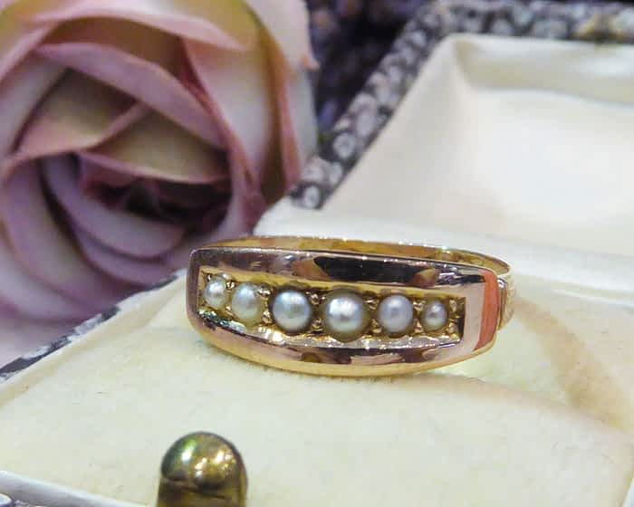 Antique Gold Ring, Victorian, Seed Pearl, 15ct Gold