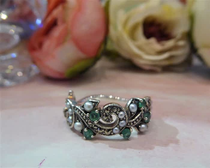 Silver, Pearl, Marcasite & Emerald Ring