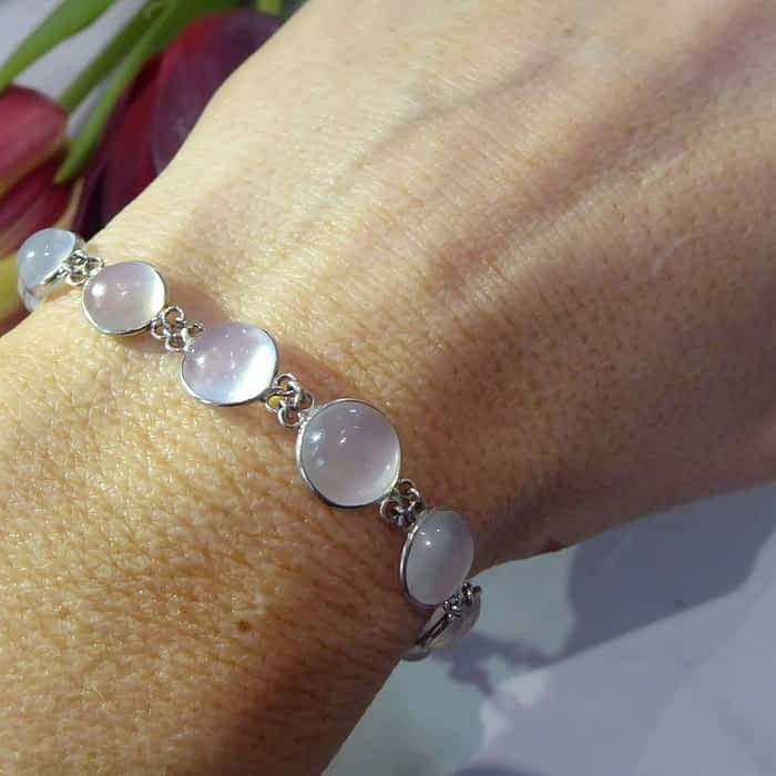 Victorian silver and moonstone bracelet