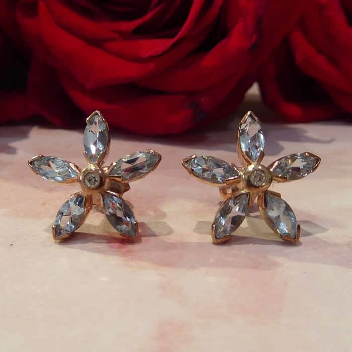 Aquamarine and Diamond Stud Earrings, 9ct rose gold, flower shape